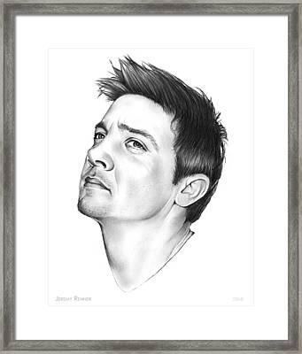 Jeremy Renner Framed Print by Greg Joens