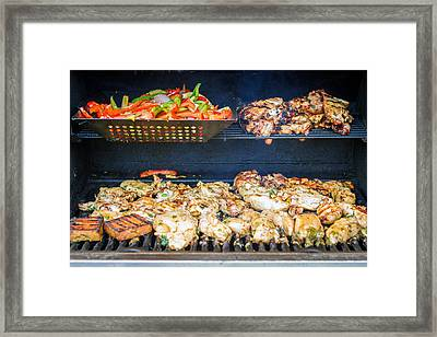 Jerk Chicken And Veggies On Grill Framed Print by Toni Thomas