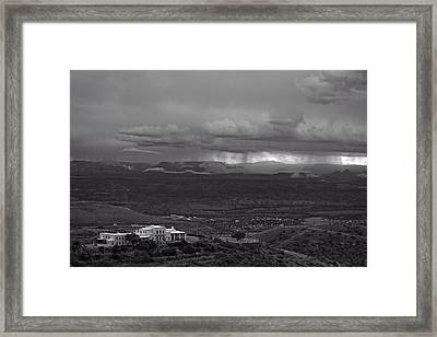Framed Print featuring the photograph Jerome State Park With Sedona Storm by Ron Chilston