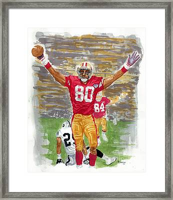 Jerry Rice The Greatest Framed Print by George  Brooks