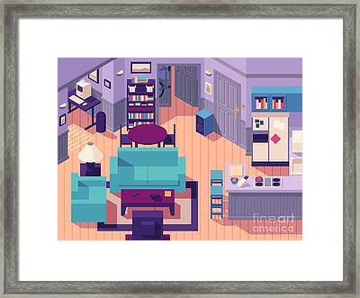 Jerry Seinfeld Apartment 5a Isometric Framed Print by Ivan Krpan