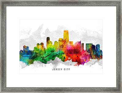 Jersey City New Jersey Cityscape 12 Framed Print by Aged Pixel