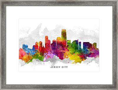 Jersey City New Jersey Cityscape 13 Framed Print by Aged Pixel