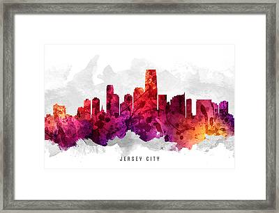 Jersey City New Jersey Cityscape 14 Framed Print by Aged Pixel