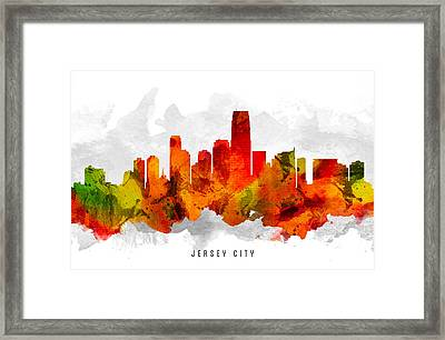 Jersey City New Jersey Cityscape 15 Framed Print by Aged Pixel