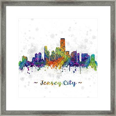 Jersey City New Jersey Skyline Color 03sq Framed Print by Aged Pixel