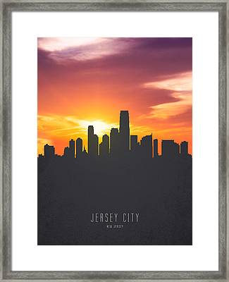 Jersey City New Jersey Sunset Skyline 01 Framed Print by Aged Pixel