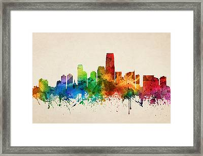 Jersey City Skyline 05 Framed Print by Aged Pixel