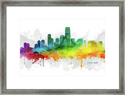 Jersey City Skyline Mmr-usnjjc05 Framed Print by Aged Pixel