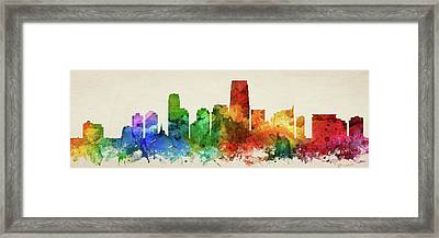 Jersey City Skyline Panorama Usnjjc-pa03 Framed Print by Aged Pixel
