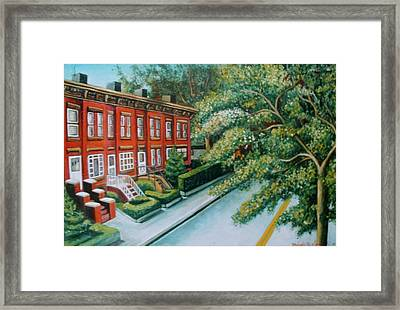 Framed Print featuring the painting Jersey City Street by Melinda Saminski