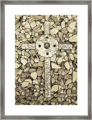 Jerusalem Cross In Sepia Tone Framed Print by Deborah Montana