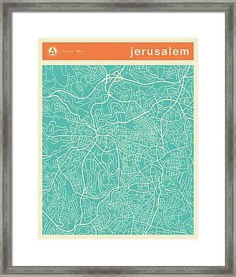 Jerusalem Street Map Framed Print