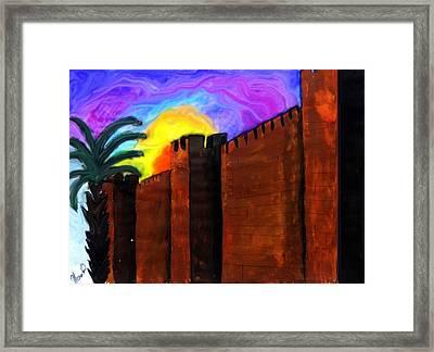 Jerusalem Sunset Framed Print by Menucha Citron
