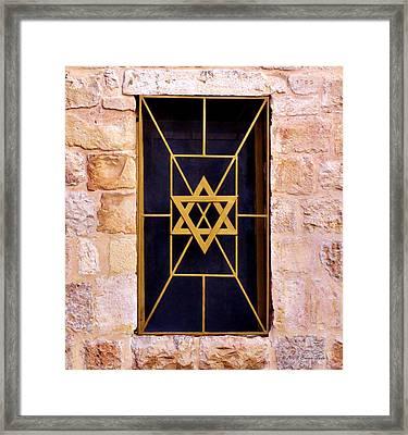 Jerusalem Window On Mt. Zion Israel Framed Print by Brian Tada