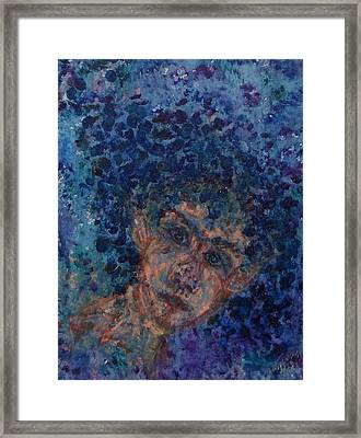 Jess In Blue Framed Print by Cathy Minerva
