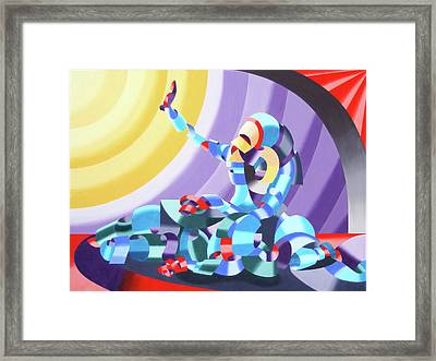 Framed Print featuring the painting Jesse And Shandra - Abstract Figurative Oil Painting By Mark Webster by Mark Webster