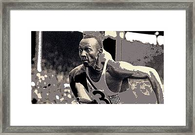 Jesse Owens In The 4 X100 Meter Relay Olympics Berlin 1936 Screen Capture And Color 2016 Framed Print by David Lee Guss