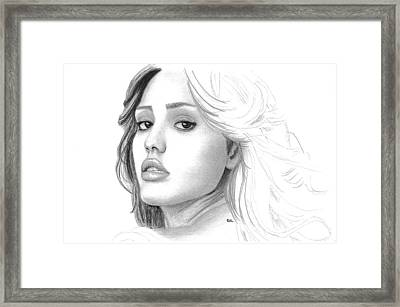 Jessica Alba Framed Print by Gil Fong
