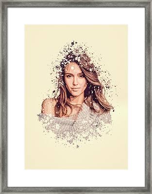 Jessica Alba Splatter Painting Framed Print