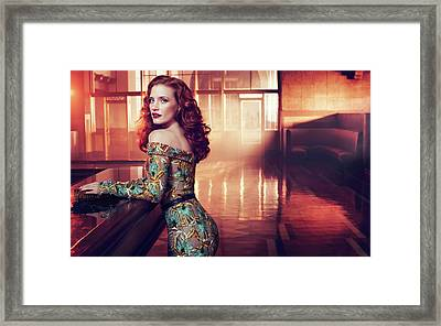Jessica Chastain Framed Print by F S