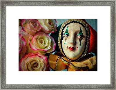 Jester And Roses Framed Print by Garry Gay