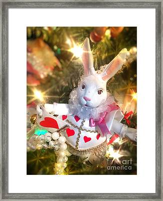 Jester White Rabbit Christmas Ornament Framed Print by Amy Cicconi