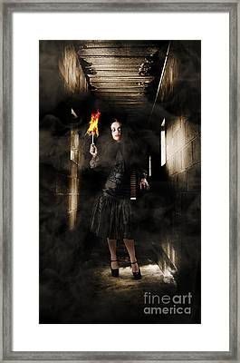 Jester Woman In Fear Walking Haunted Castle Halls Framed Print by Jorgo Photography - Wall Art Gallery