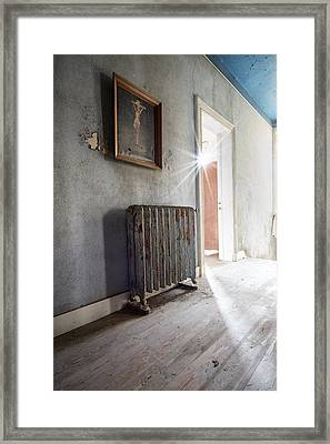 Jesus Above The Heater - Abandoned Building Framed Print