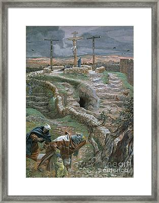 Jesus Alone On The Cross Framed Print