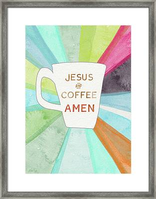 Jesus And Coffee Amen- Art By Linda Woods Framed Print