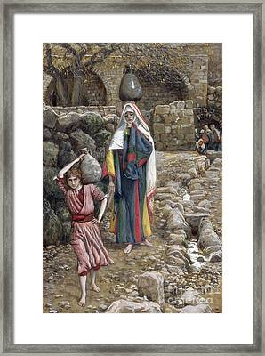 Jesus And His Mother At The Fountain Framed Print