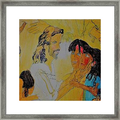 Jesus And The Children Framed Print