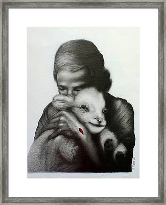 Jesus And The Lamb Framed Print