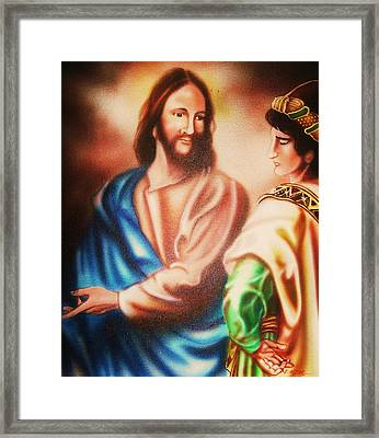 Jesus And The Rich Young Ruler Framed Print by Scott Easom