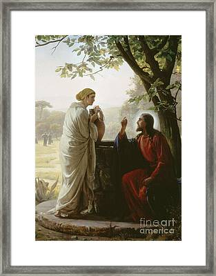 Jesus And The Samaritan Woman At The Well Framed Print
