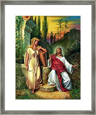 Jesus And The Woman At The Well Framed Print by John Lautermilch