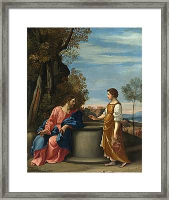 Jesus And The Woman From Samaria Framed Print