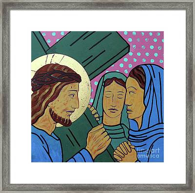 Jesus And The Women Of Jerusalem Framed Print