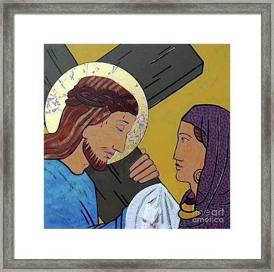 Jesus And Veronica Framed Print