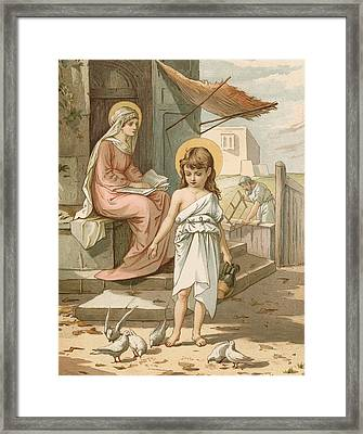 Jesus As A Boy Playing With Doves Framed Print