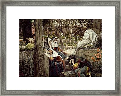 Jesus At Bethany Framed Print by Tissot