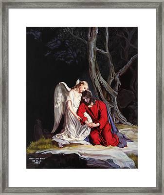 Jesus At Gethsemane Framed Print by Rebecca Poole