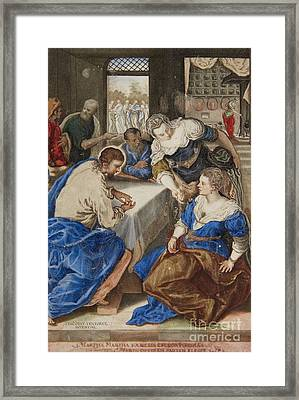 Jesus At The Home Of Martha And Mary  Framed Print by Celestial Images