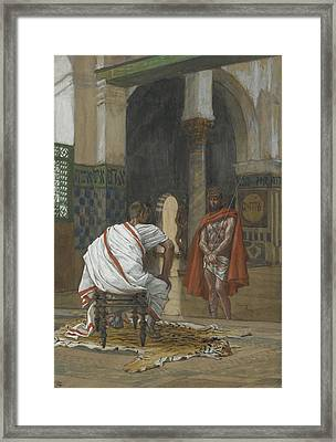 Jesus Before Pilate Framed Print by Tissot