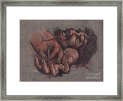 Jesus Being Crucified Framed Print by Morgan Fitzsimons