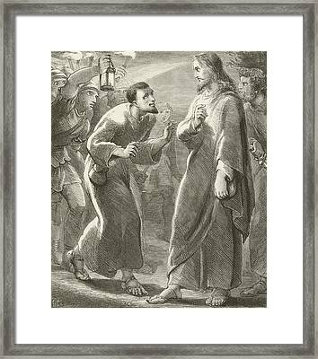 Jesus Betrayed By Judas Framed Print by English School