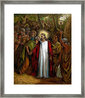 Jesus Betrayed Framed Print by John Lautermilch