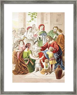 Jesus Blessing Little Children. Suffer Framed Print
