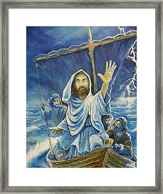 Jesus Calms The Sea Framed Print by Nicolas Avet